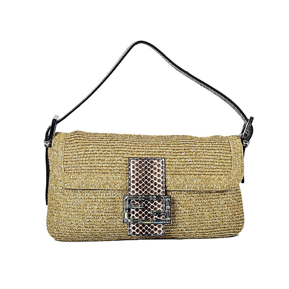 de3790d4f83b FENDI STRAW BAGUETTE HANDBAG - My Luxury Bargain