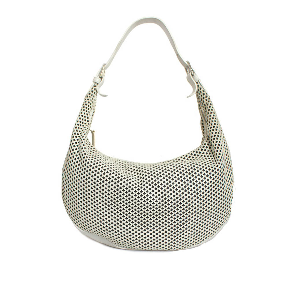 6777f85f56409 CHRISTIAN DIOR WHITE CD LEATHER PERFORATED HOBO BAG - My Luxury Bargain
