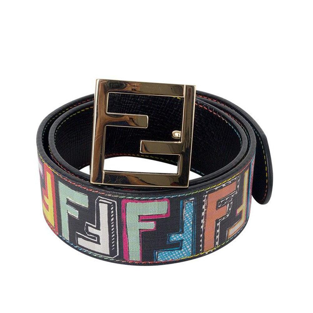 fendi canvas multicolor logo print belt my luxury bargain