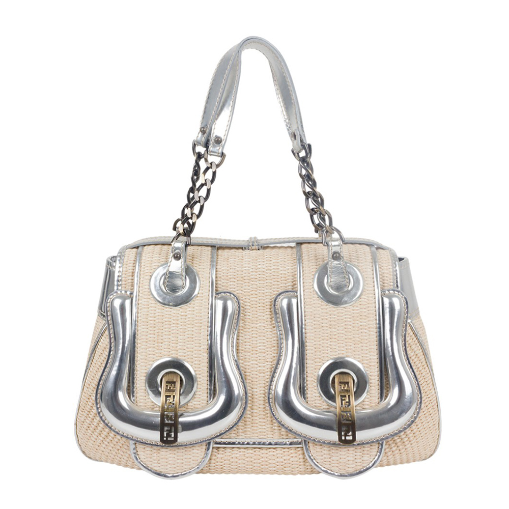714b9f641d9 FENDI RAFFIA AND METALLIC LEATHER TRIM B BAG - My Luxury Bargain