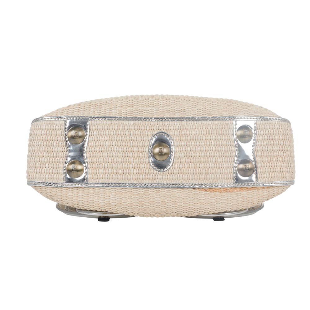 41dd3a9ad129 FENDI RAFFIA AND METALLIC LEATHER TRIM B BAG - My Luxury Bargain