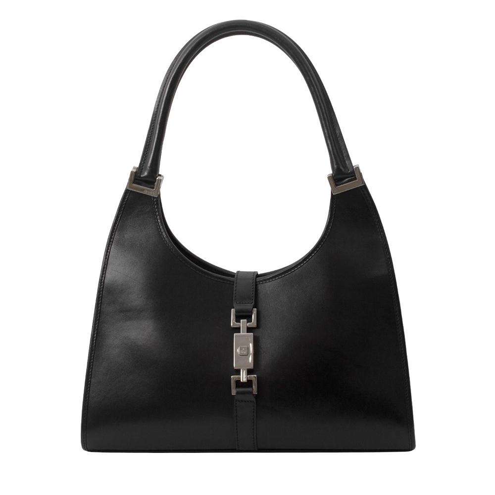 38c54af583be GUCCI BLACK LEATHER BARDOT BOUVIER SHOULDER BAG - My Luxury Bargain