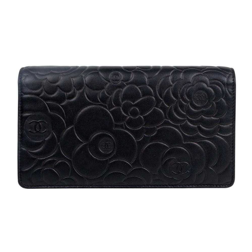 d6d34383d3ba Chanel Black Leather Camellia Wallet | Stanford Center for ...