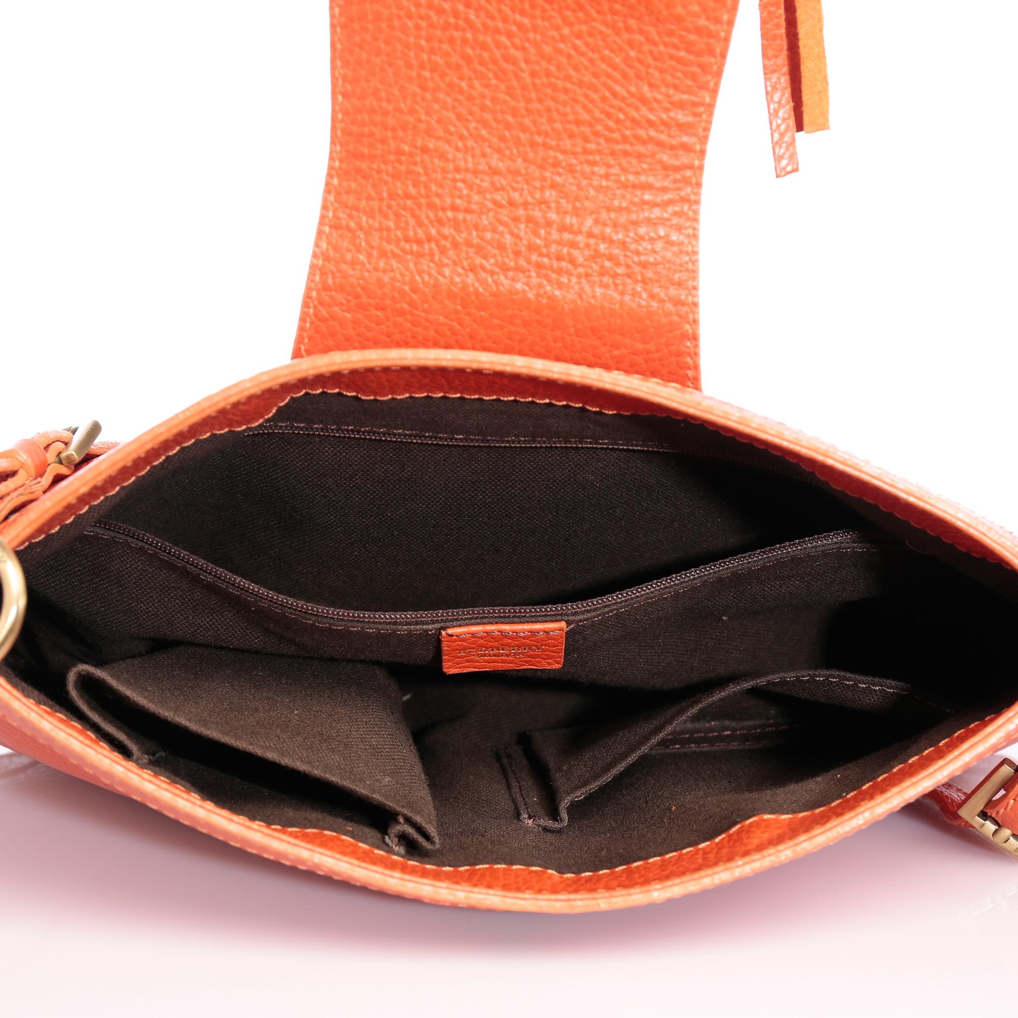28bba268465c Shop Authentic Burberry Handbag Online india My Luxury Bargain Burberry  Orange Leather Shoulder Bag ...