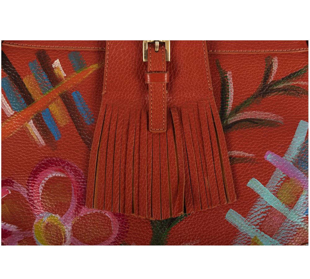 2ee5c7f7569b Customised Burberry Orange Leather Shoulder Bag - My Luxury Bargain