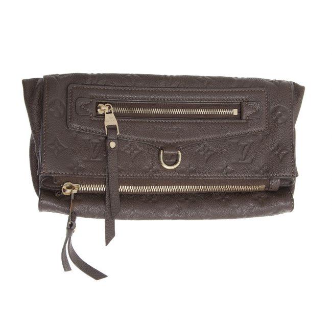 Buy Authentic Louis Vuitton bag online My Luxury Bargain LOUIS VUITTON BROWN MOMNOGRAM EMPRIENTE LEATHER PETILLANTE CLUTCH