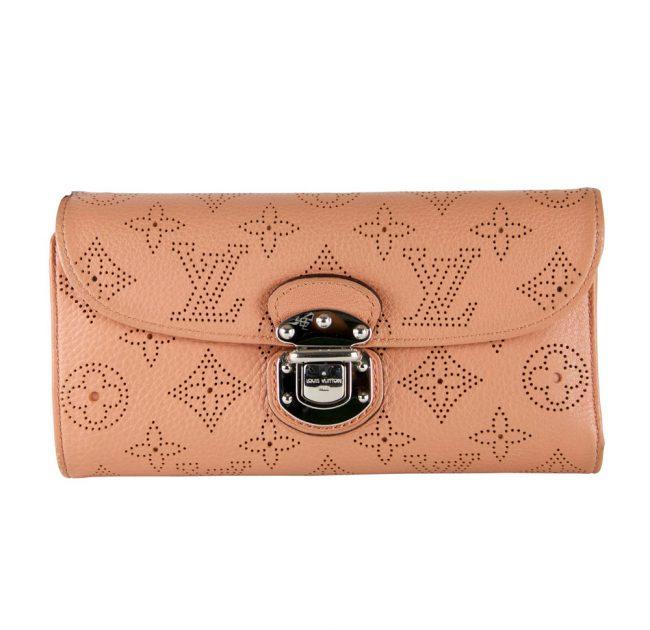 Louis Vuitton online shopping India My Luxury Bargain LOUIS VUITTON PEACH MONOGRAM MAHINA AMELIA WALLET
