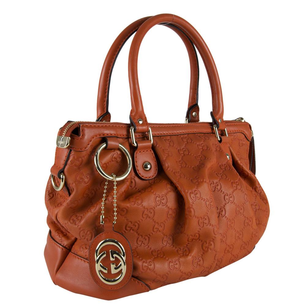 cfcb7ec96525 Gucci Orange Guccissima Leather Sukey Top Handle Bag