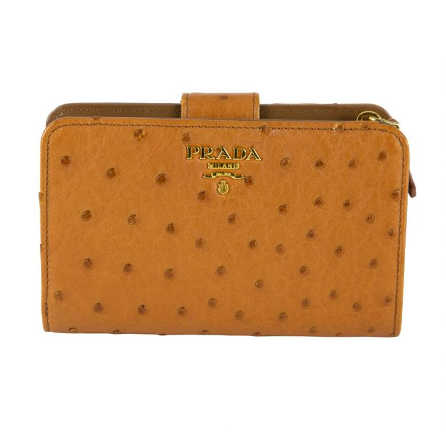 My Luxury Bargain Shop Authentic PRADA OSTRICH LEATHER BI FOLD WALLET in India