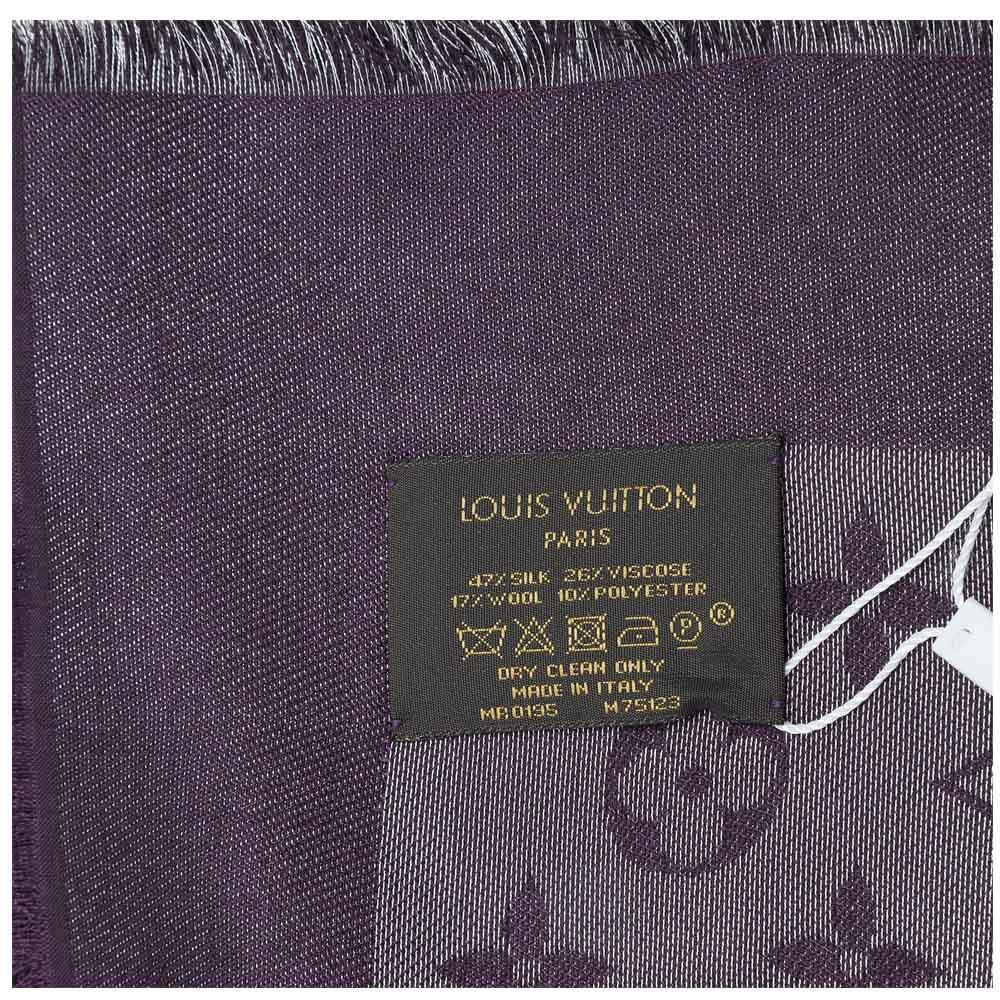 121d04a63814 ... Shop Authentic Louis Vuitton Scarf online India My Luxury Bargain LOUIS  VUITTON PURPLE MONOGRAM WOOL