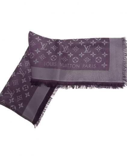Shop Authentic Louis Vuitton Scarf online India My Luxury Bargain LOUIS VUITTON PURPLE MONOGRAM WOOL & SILK SHAWL