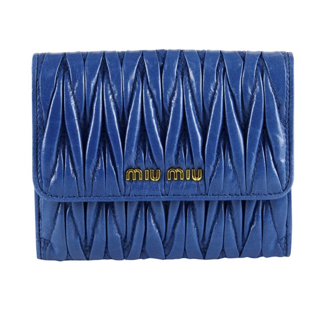 Shop authentic online india My Luxury Bargain MIU MIU BLUE MATELASSE WALLET