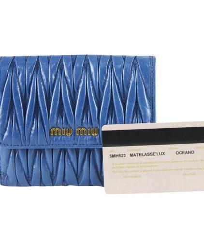 Shop authentic online india My Luxury Bargain MIU MIU BLUE MATELASSE WALLET