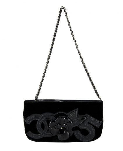 shop Chanel Online india My Luxury Bargain CHANEL VELVET CAMELLIA 5 POCHETTE