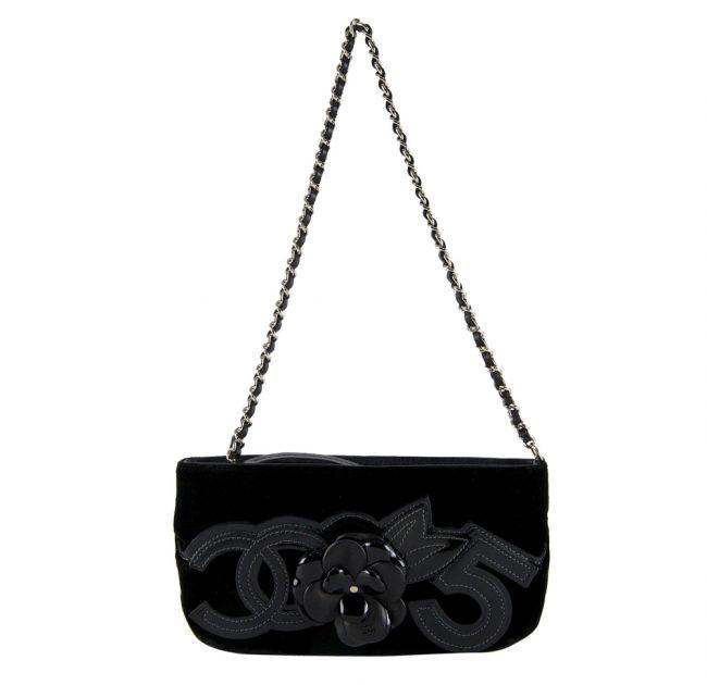 shop Chanel Online india My Luxury Bargain CHANEL VELVET CAMELLIA 5 POCHETTE