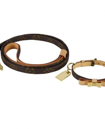 Louis Vuitton Monogram Leather Dog Collar Leash
