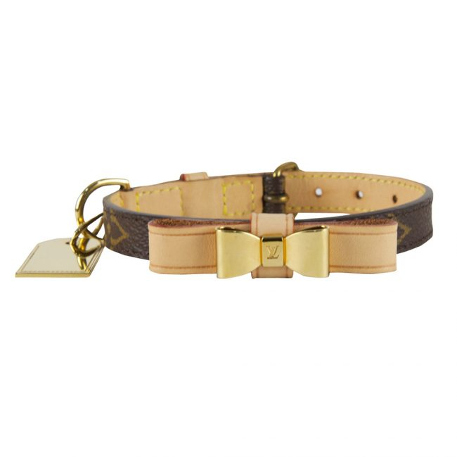 Louis Vuitton Monogram Leather Dog Collar Leash