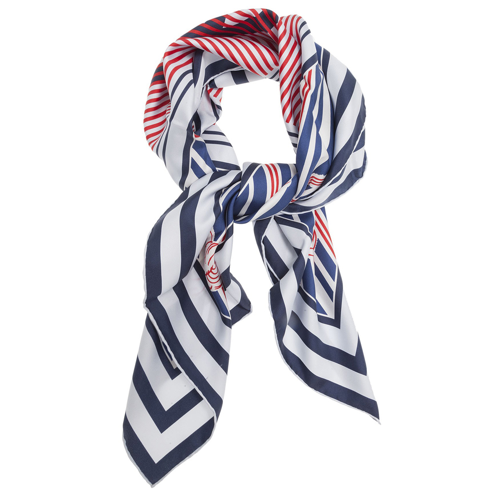 CHANEL RED BLUE AND WHITE CAMELLIA SILK SCARF - My Luxury Bargain 579e81fec