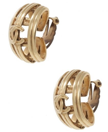 Buy authentic Chanel Vintage Earrings My Luxury Bargain Chanel Vintage CC Clip Earrings 1996