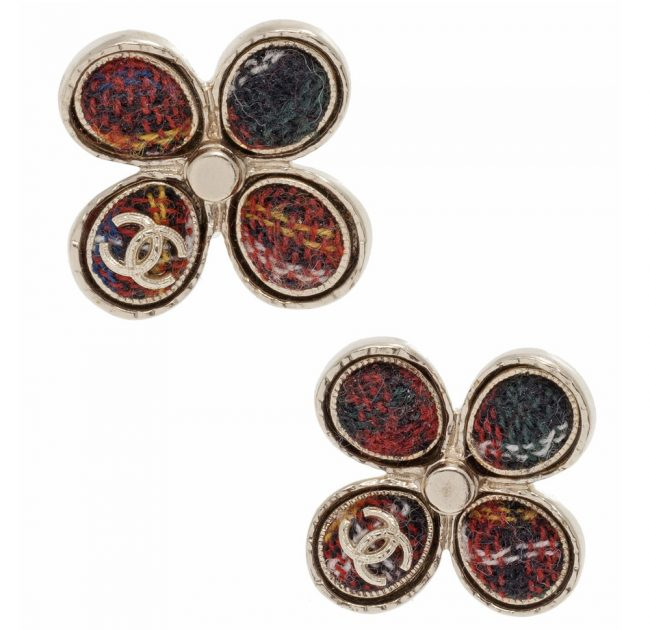Shop authentic Chanel online Chanel Cintage Tweed Wdinbur Pin Earrings