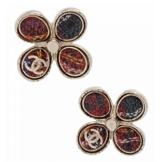 Shop authentic Chanel online Chanel Cintage Tweed Wdinbur Pin Earrings