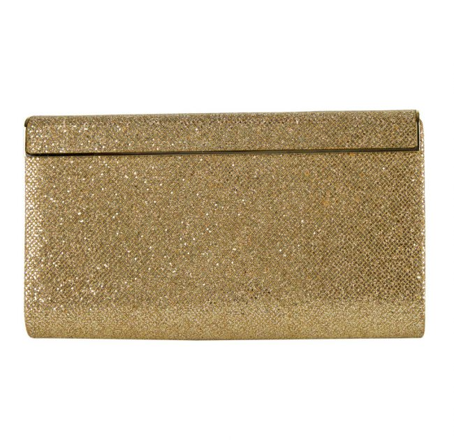 Buy Luxury Designer party clutches online India My Luxury Bargain Jimmy Choo Gold Glitter Finished Cayla Evening Party Clutch