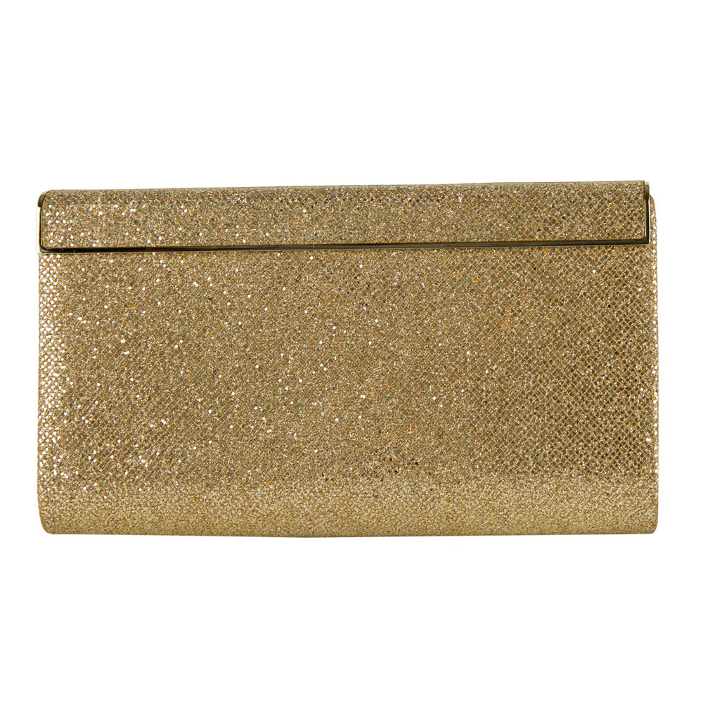 JIMMY CHOO GOLD GLITTER FINISHED CAYLA EVENING PARTY CLUTCH - My ...