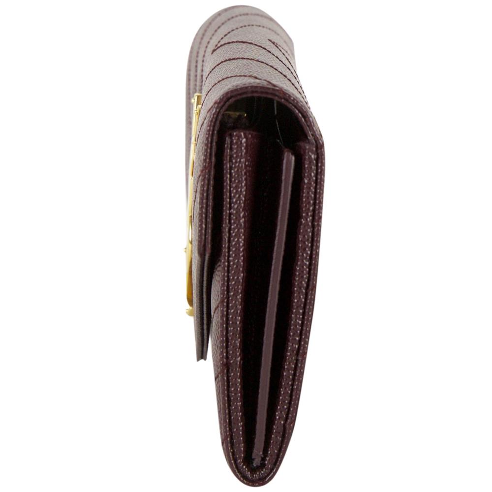 49d1f2ec80812 Saint Laurent Paris Maroon Leather Monogram Flap Wallet
