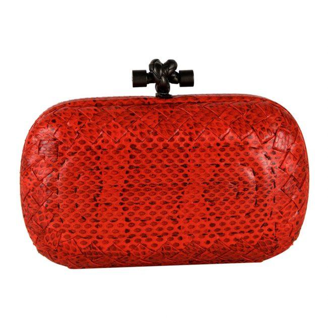 Shop pre owned luxury designer clutches online India My Luxury Bargain Bottega Veneta Red Intrecciato Python Leather Knot Clutch