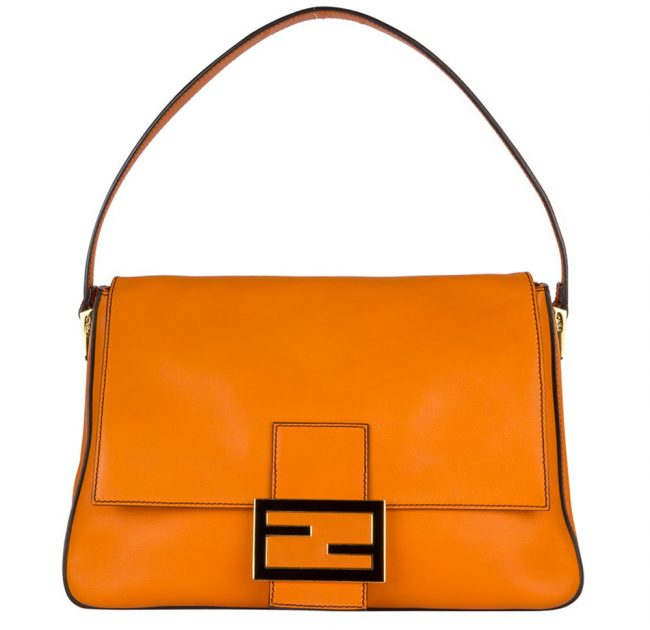 Fendi Orange Leather Mama Shoulder Handbag