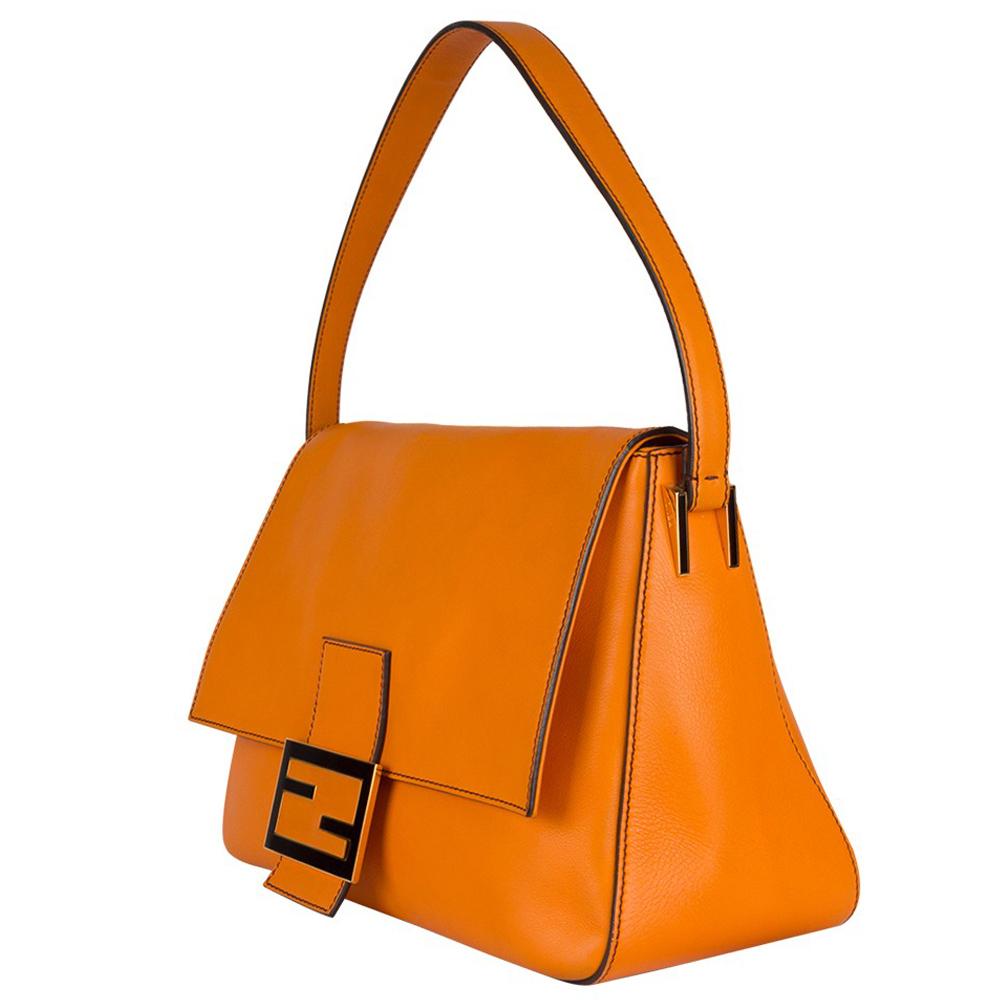 c7fde89b848 Fendi Orange Leather Mama Shoulder Handbag