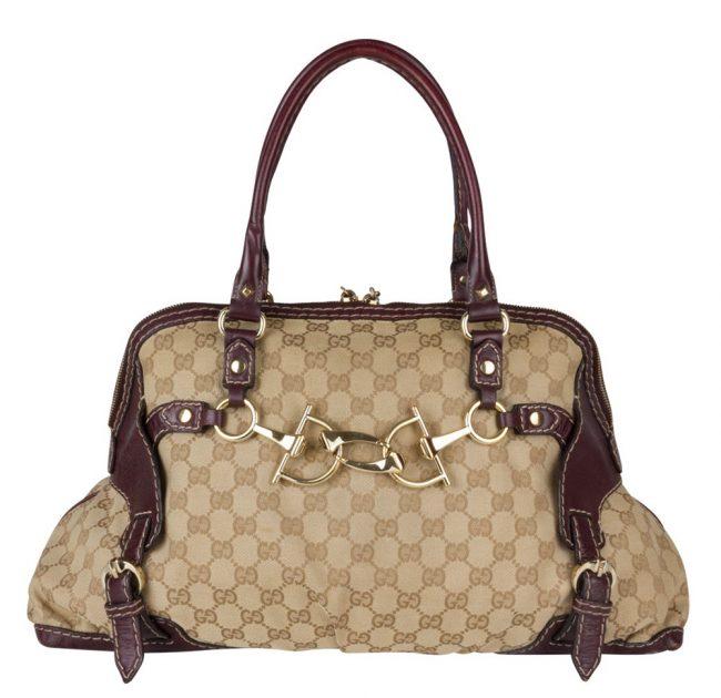 Gucci Monogram Canvas Medium Horsebit Nail Boston Bag