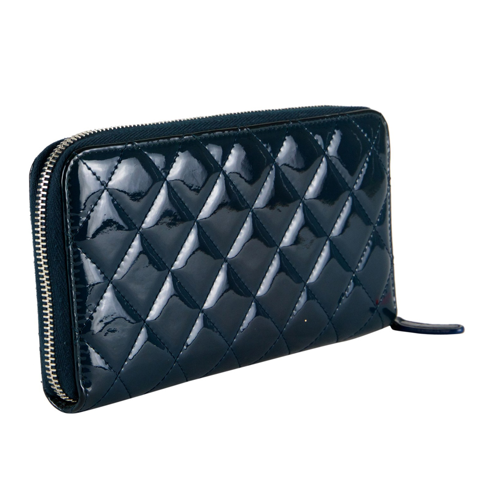 7208c7864bb8 CHANEL BLUE QUILTED PATENT LEATHER ZIP AROUND WALLET