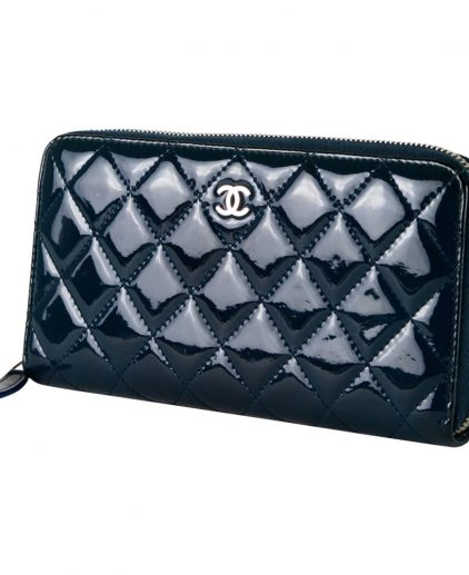 Shop Authentic Chanel Wallets Online India My Luxury Bargain CHANEL BLUE QUILTED PATENT LEATHER ZIP AROUND WALLET 7