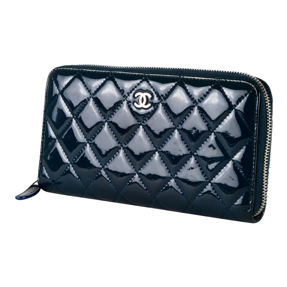 2d59a42f495b ... Shop Authentic Chanel Wallets Online India My Luxury Bargain CHANEL  BLUE QUILTED PATENT LEATHER ZIP AROUND ...