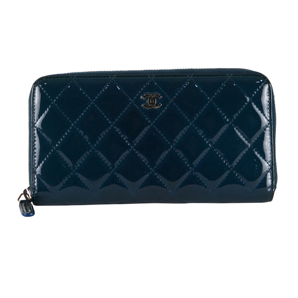 5874d0c4cd9a Shop Authentic Chanel Wallets Online India My Luxury Bargain CHANEL BLUE  QUILTED PATENT LEATHER ZIP AROUND