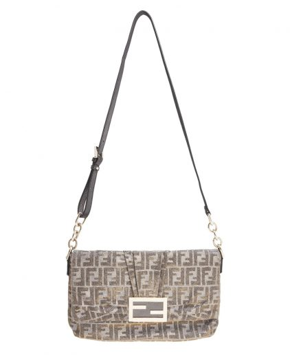 Fendi Silver Metallic Baguette Shoulder Handbag