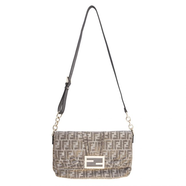 Fendi Silver Metallic Baguette Shoulder Handbag