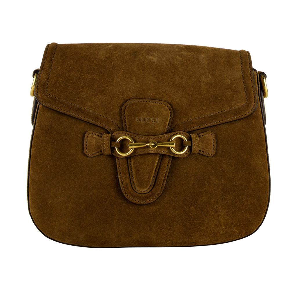 Shop Gucci Brown Suede Lady Web Shoulder Bag b9c6c88c2