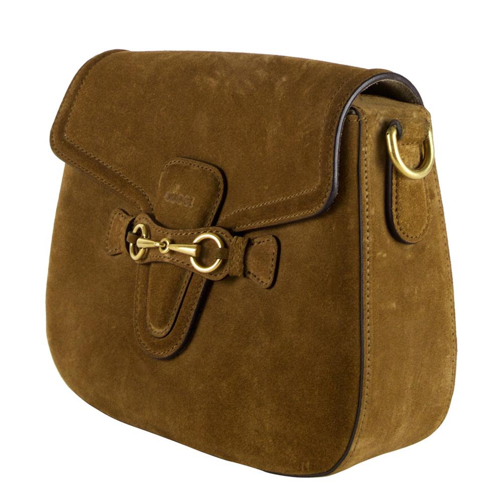 Gucci Brown Suede Lady Web Shoulder Bag