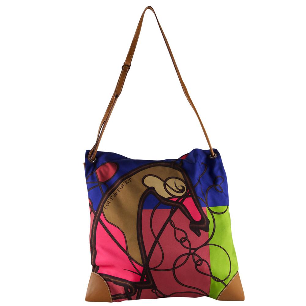 497c1a346f83 Hermes Multicolor Silk   Swift Leather Silky City Handbag