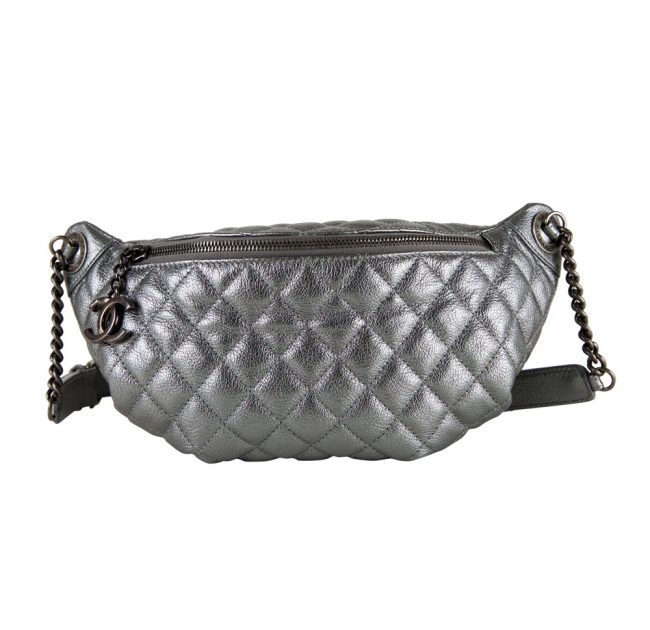 Chanel Silver Metallic Waist Bag