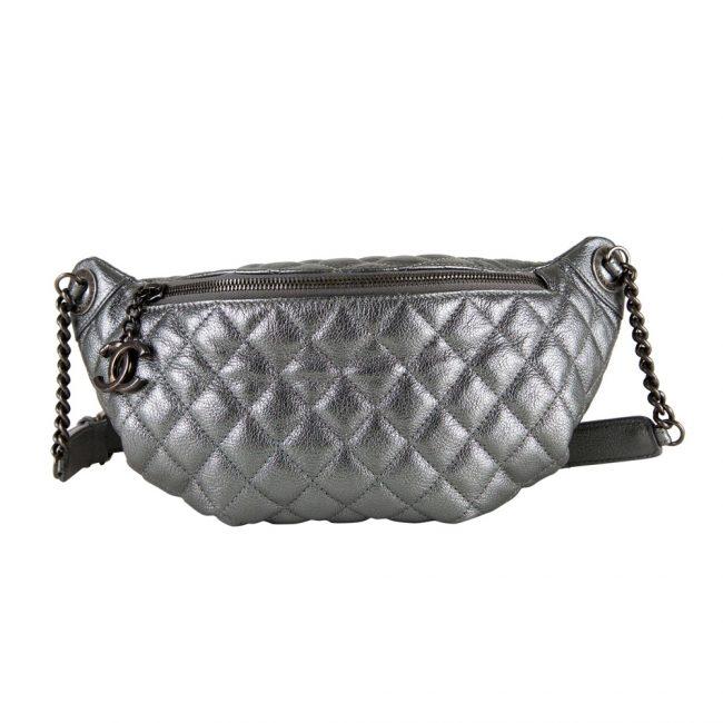 Chanel Silver Metallic Waist Bag
