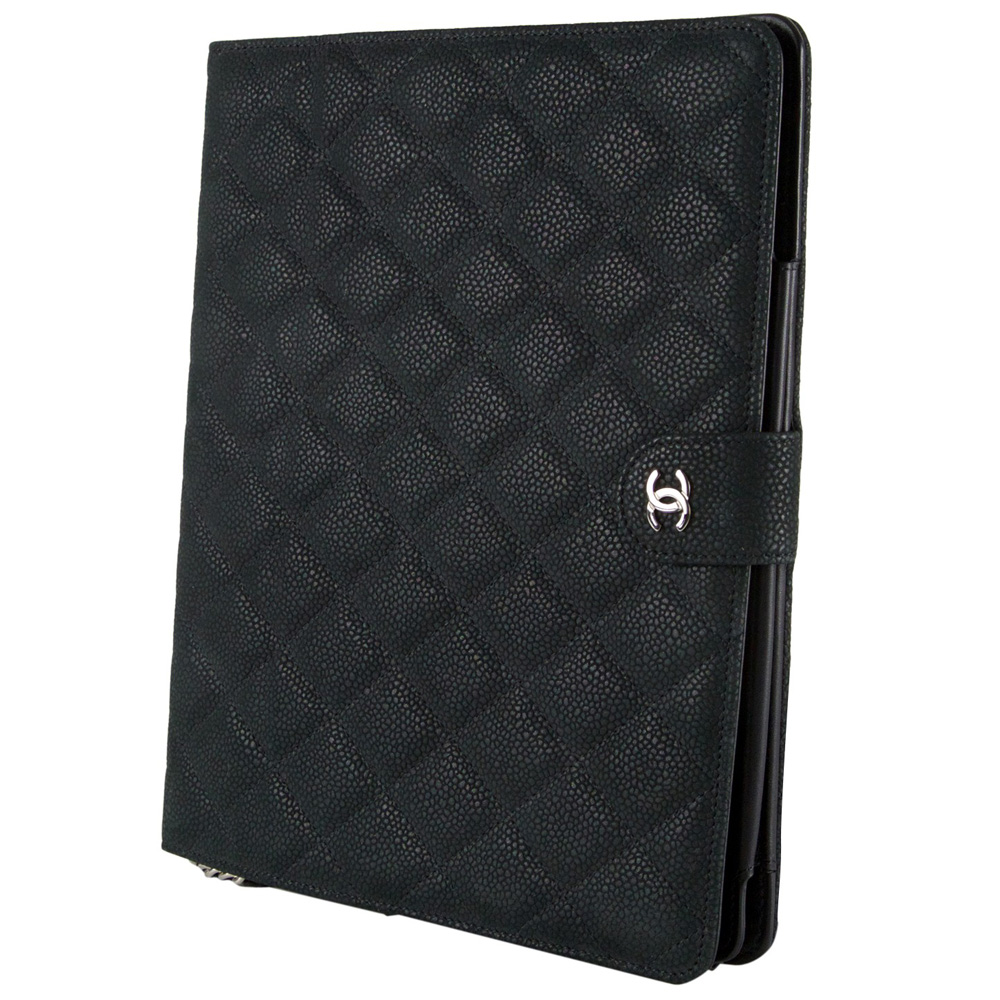 Chanel Black Quilted Leather Crossbody Ipad Case