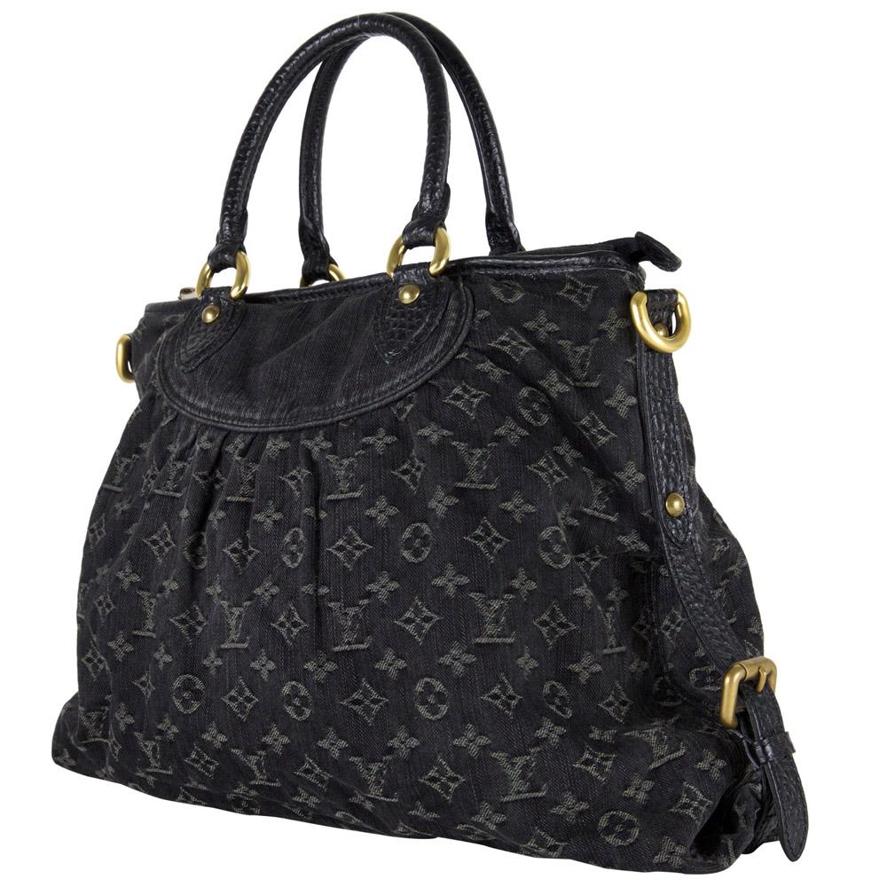 d03d19277606 Louis Vuitton Black Monogram Denim Neo Cabby GM Handbag