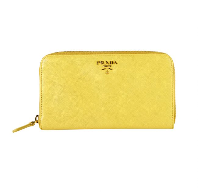 Prada Yellow Side Zip Wallet