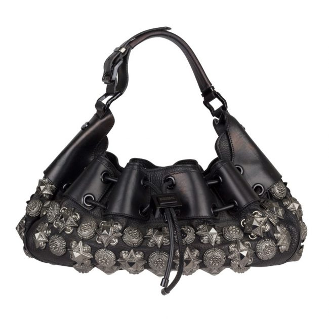BURBERRY BLACK LEATHER SMALL WARRIOR HOBO