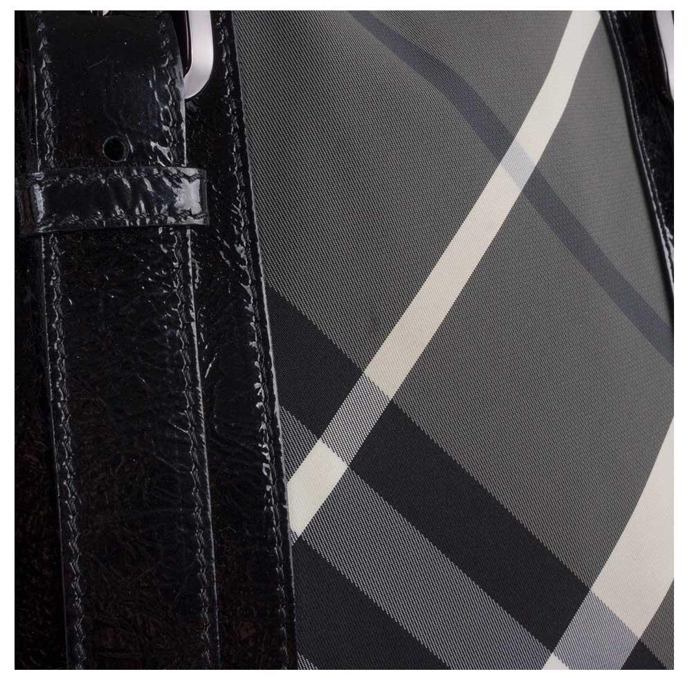 5003ba42e845b Burberry Black Beat Check Nylon Lowry Tote Handbag