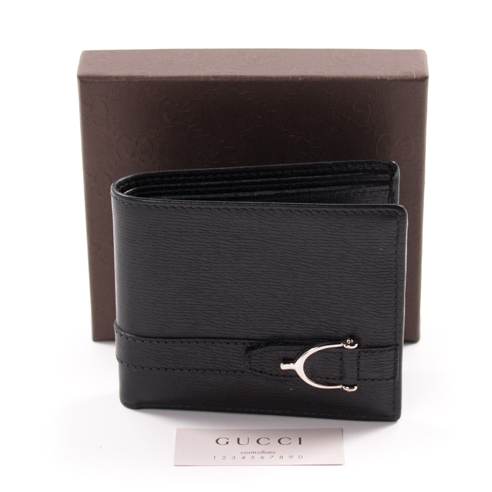 8bccca8d3136 Gucci Black Leather Horse Bit Men s Wallet