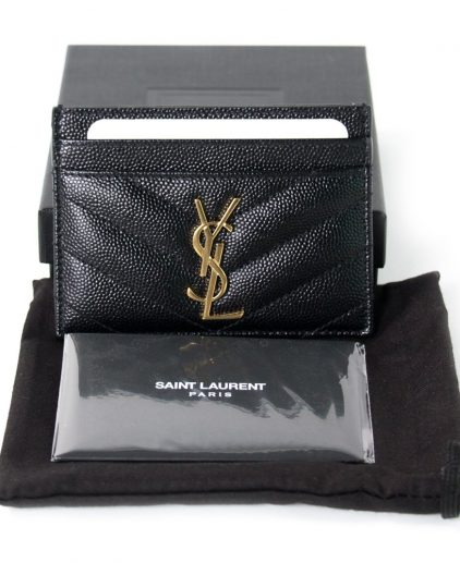 Saint Laurent Paris Black Leather Card Holder
